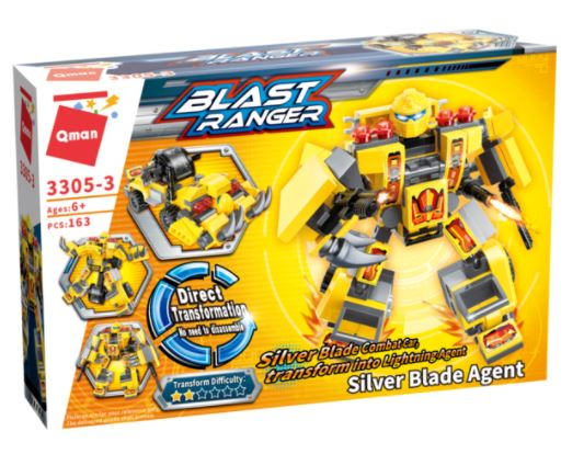 Qman 3305-3 Silver Blade Agent / Transform Silver Blade Combat Car in Lightning Agent