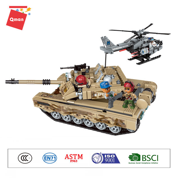 Qman 1729 Battle Forces Army Armored Tank Kampfpanzer mit Helikopter