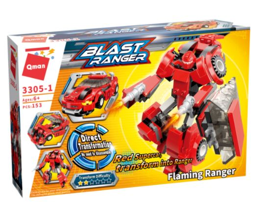 Qman 3305-1 Flaming Ranger / Transform Red Super Car in Ranger