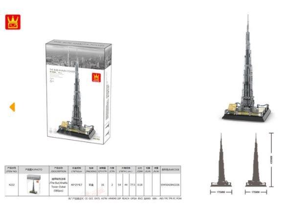Wange 4222 Architect-Set The Burj Khalifa Tower Dubai 580 Teile