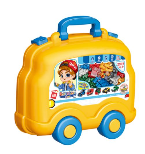 Qman 2907 Build n Learn Fahrzeuge-Koffer 521 Teile Vehicles Auto-Set