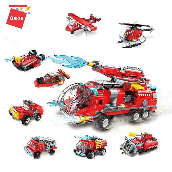 Qman 1805 Water Canon Fire Truck - 8 kleine Feuerwehr Fahrzeuge oder 1 Tanklöschfahrzeug