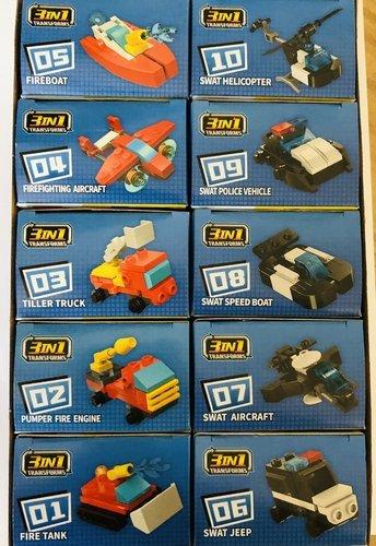 Qman 2107 Trans-Collector 10 Mini-Sets je 3 in 1 Feuerwehr, SWAT Mitgebsel