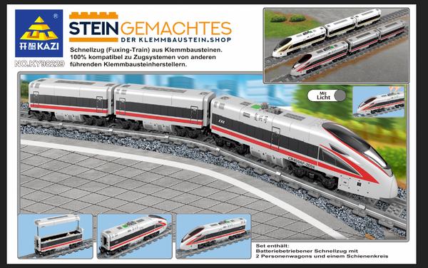 Kazi KY98229 Personen-Schnellzug mit Waggons und Schienenkreis