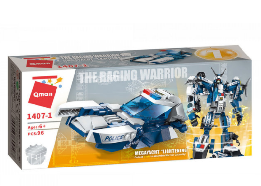 Qman 1407-1 Megayacht Lightning / Transformer Polizeifahrzeug + Roboter