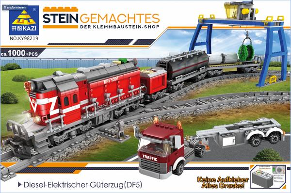Kazi KY98219 Roter Diesel Güterzug mit Schienenkreis