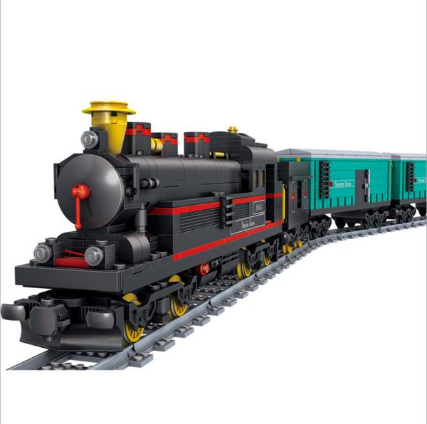 Kazi KY98226 Dampflokomotive mit Güterwaggons und Schienenkreis