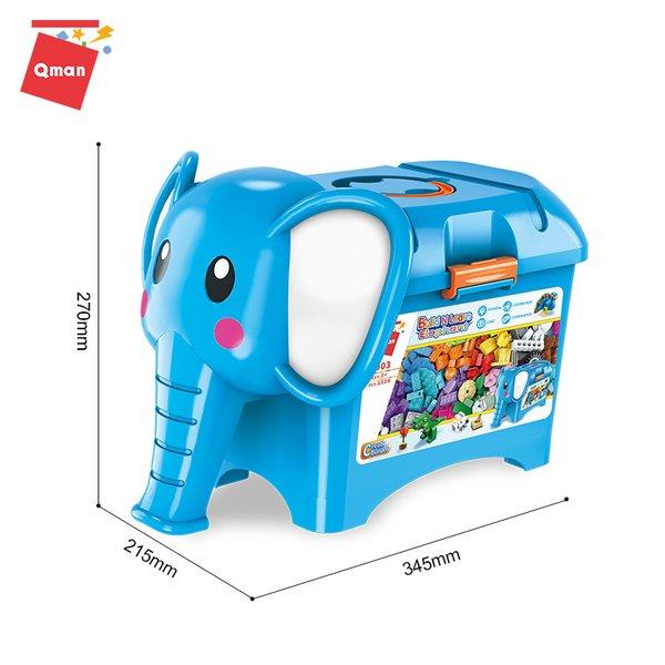 Qman 2903 Build n Learn Elefant Steinebox Starter-Set 1104 Teile