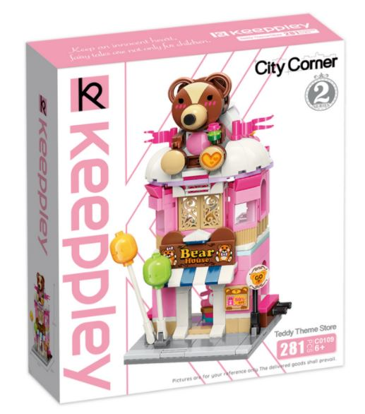 Keeppley by Qman C0109 City Corner 2 Teddy-Laden Teddy Theme Store Kuscheltier