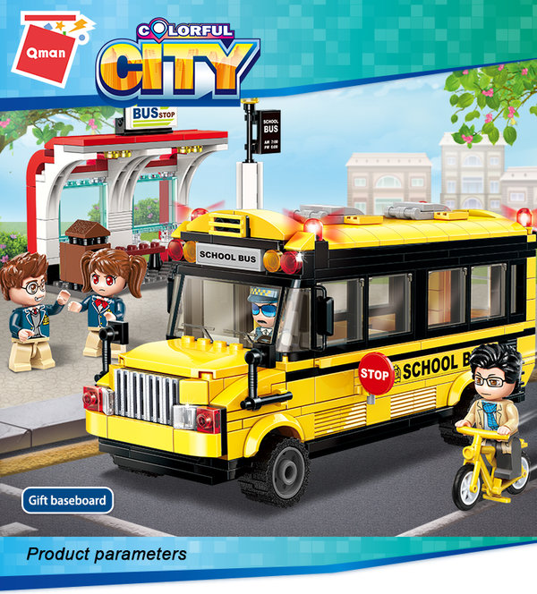 Qman 1136 Colorful City Edify School Bus
