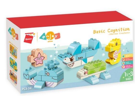 Qman 5001 Enjoy Kids Basic Sea Creatures große Bausteine Meerestiere