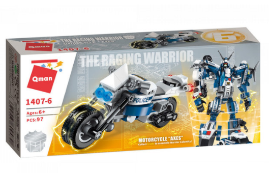Qman 1407-6 Motorcycle Axes / Transformer Polizeifahrzeug + Roboter