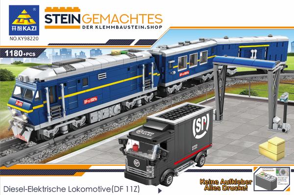 Kazi KY98220 Blauer Elektro-Personenzug mit Schienenkreis