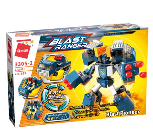 Qman 3305-2 Blast Pioneer / Transform Blue Missile Vehicle in POWER Artillerist