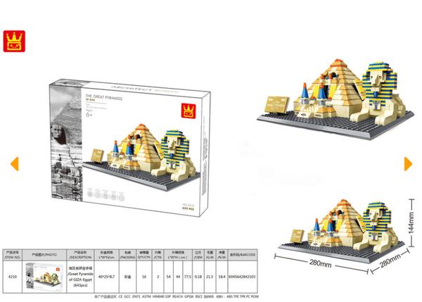 Wange 4210 Architect-Set The Great Pyramids - Pyramiden von Gizeh 622 Teile