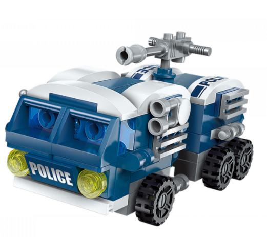 Qman 1407-2 Assault Vehicles / Transformer Polizeifahrzeug + Roboter